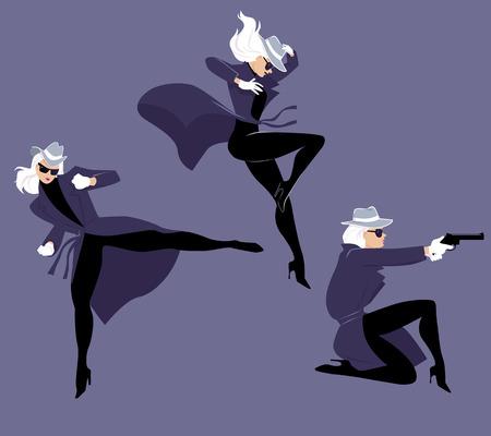 Personaje de mujer misteriosa en tres poses de acción, ilustración vectorial EPS 8 Ilustración de vector