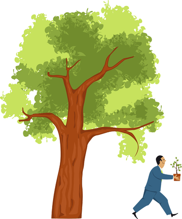 Businessman taking a small sprout from a big tree as a metaphor for branching out or diversifying business venture, EPS 8 vector illustration Stockfoto - 120318936