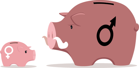 Two piggy banks representing a gender gap in income, EPS 8 vector illustration