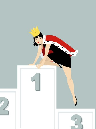 Woman experiencing impostor syndrome climbing down from a podium, EPS 8 vector illustration