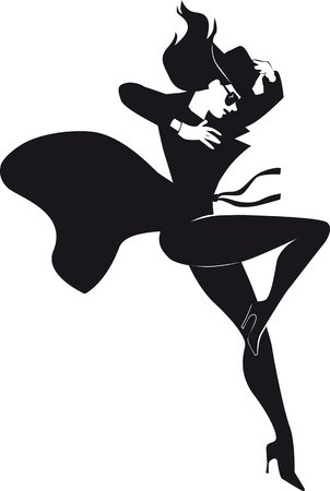 Mystery woman character jumping down, EPS 8 vector black silhouette, no white objects