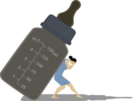 Woman experiencing  postpartum depression is crushed by a giant baby bottle , EPS 8 vector illustration