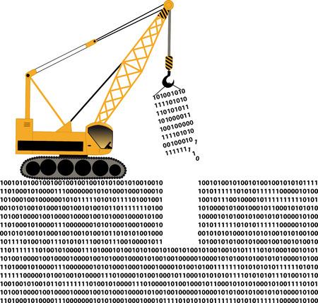 Construction crane doing computer code data manipulation, EPS 8 vector illustration