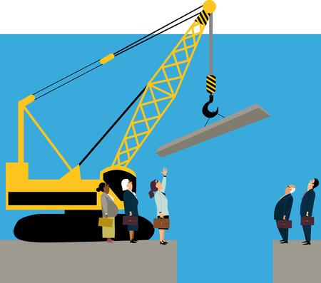 Männliche und weibliche Geschäftsleute, die versuchen, die Geschlechterlücke mit einem Kran zu schließen, EPS 8-Vektorillustration