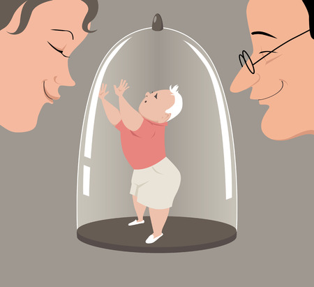 Overprotective parents keeping a child in a glass dome display, EPS 8 vector illustration