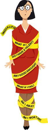 Business woman wrapped in a yellow tape with messages of self-doubt, EPS 8 vector illustration