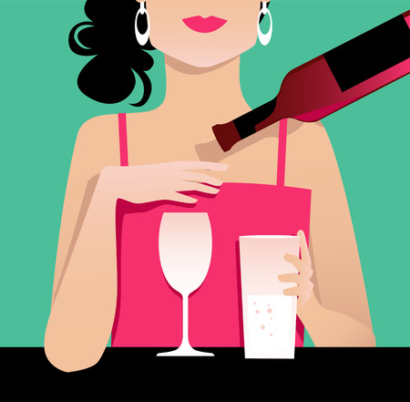 Woman cuts back on alcohol, rejecting wine and preferring a glass of water, EPS 8 vector illustration