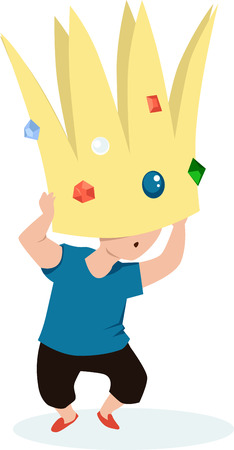 Child struggling under a heavy crown as a metaphor for big expectations and underachievement, EPS 8 vector illustration