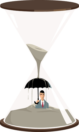 Businessman with an umbrella getting buried in the sand inside a hourglass, EPS 8 vector illustration