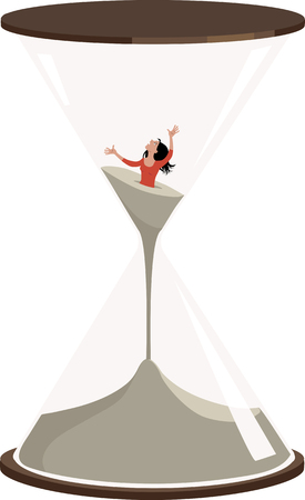 Woman is drowning in the sand inside an hourglass, EPS 8 vector illustration