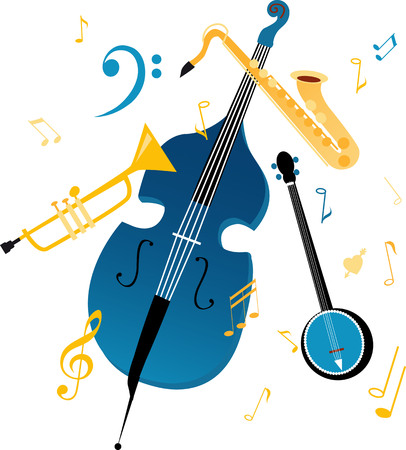 Jazz band musical instruments, graphic design element, EPS 8 vector illustration