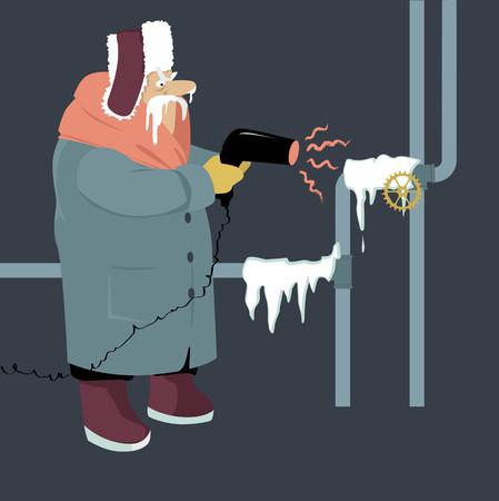 Homme supérieur essayant de décongeler des tuyaux gelés avec un sèche-cheveux, illustration vectorielle EPS 8 Vecteurs