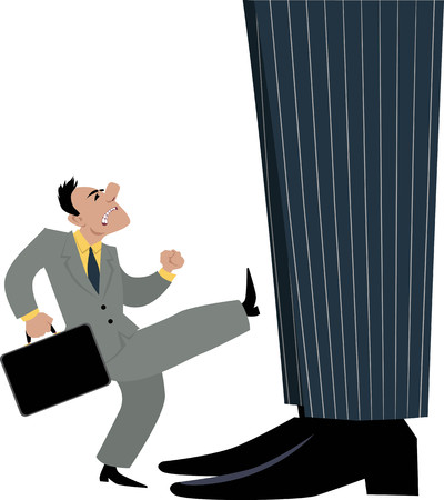 Small businessman trying to attract attention of a giant businessman, a boss, management or big organization, by kicking him, EPS 8 vector illustration