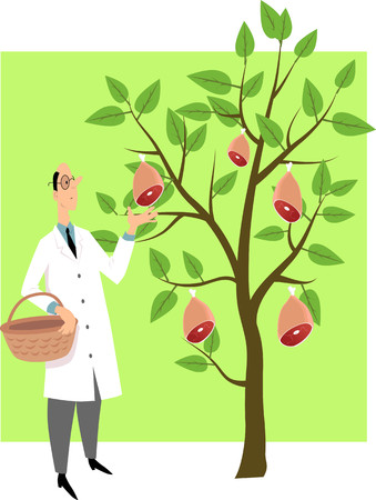 Scientist picking ham from a tree as a metaphor for plant-based meat substitutes, EPS 8 vector illustration