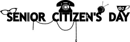 Black vector silhouette banner for Senior Citizens Day, EPS 8, no white objects Illustration