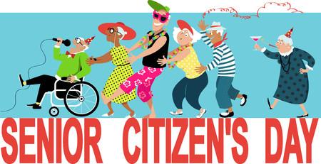 Group of active seniors celebrate Senior Citizens Day, EPS 8 vector illustration Illustration