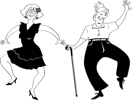 Cute senior couple dancing, EPS 8 vector illustration, no white objects