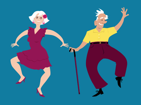 Cute senior couple dancing, EPS 8 vector illustration