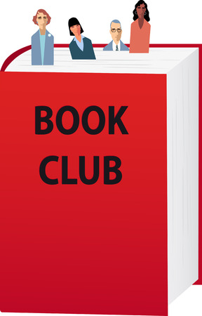 Book club members as bookmarks sticking out of a book, EPS 8 vector illustration Vectores