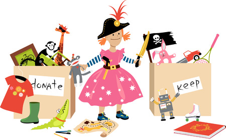 Little girl decluttering, sorting her toys into donation and keep boxes, EPS 8 vector illustration