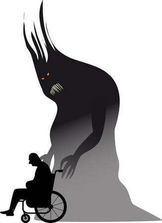 Senior person in a wheelchair with a monster representing depression, EPS 8 vector illustration