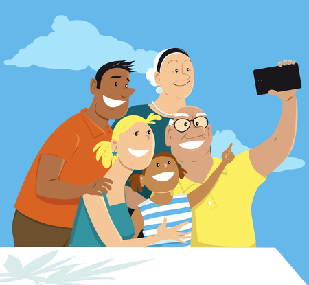 Three generation family taking a selfie on a smart-phone, EPS 8 vector illustration Vettoriali