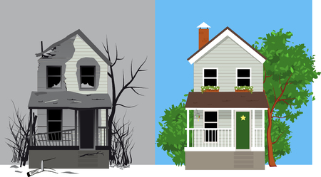 Casa bruciata dopo l'incendio e la stessa casa dopo il restauro, illustrazione vettoriale EPS 8 Vettoriali