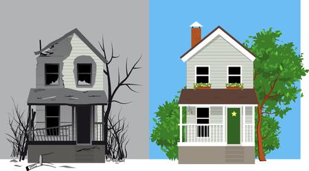 Verbranntes Haus nach Feuer und dasselbe Haus nach der Restaurierung, EPS 8-Vektorillustration Vektorgrafik