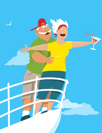 Happy senior couple recreating a scene from Titanic on board of a cruise ship, EPS 8 vector illustration