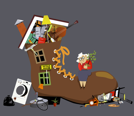 Elderly hoarder woman living in a shoe bursting with stuff, EPS 8 vector illustration
