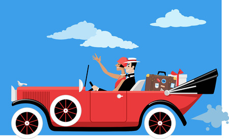 Glam 1920s couple travels in a vintage cabriolet car with luggage, EPS 8 vector illustration