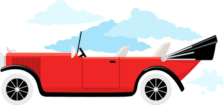 Old-fashion cabriolet car, EPS 8 vector illustration