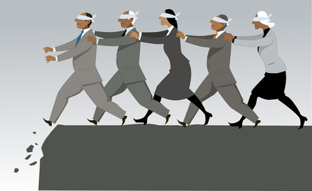 Blind führt blind zur Katastrophe, EPS 8-Vektorillustration Vektorgrafik