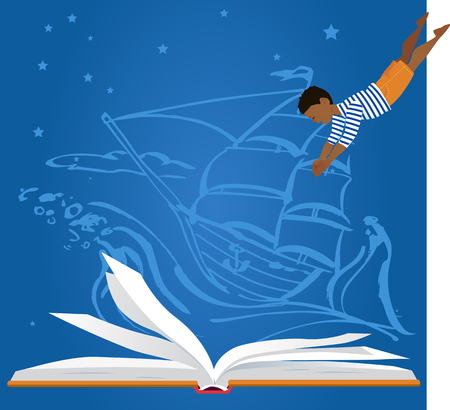 Little boy diving in an open book, old-time sailing ship on the background, EPS 8 vector illustration Illusztráció