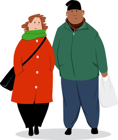 Middle aged biracial couple in winter clothes standing, isolated on white, EPS 8 vector illustration