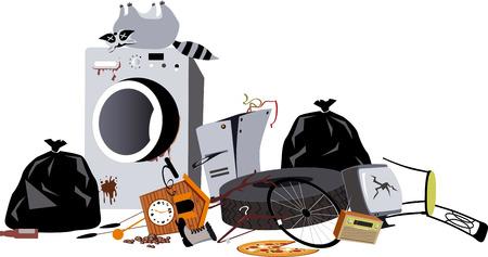 Stapel huishoudelijk afval, inclusief een kapotte wasmachine en een dode wasbeer, EPS 8 vectorillustratie Vector Illustratie