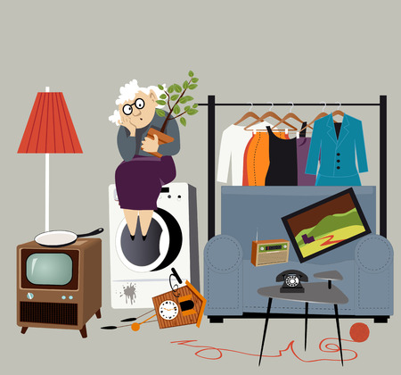Homeless elderly woman sitting outside surrounded by her belongings, EPS 8 vector illustration