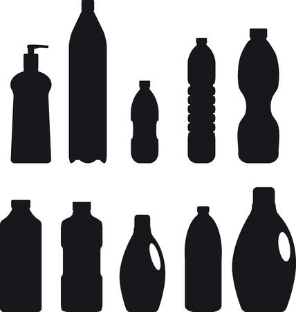 Set of vector silhouettes of plastic bottles, EPS 8 vector illustration Illusztráció