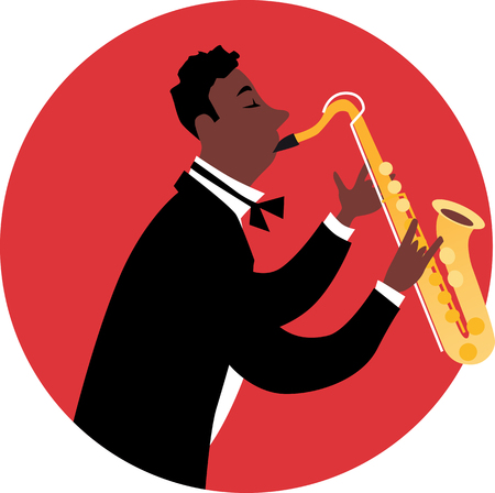 Black man in tuxedo playing a saxophone, EPS 8 vector illustration Çizim