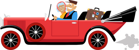 Couple of active seniors travelling in a vintage cabriolet car, EPS 8 vector illustration Ilustracja