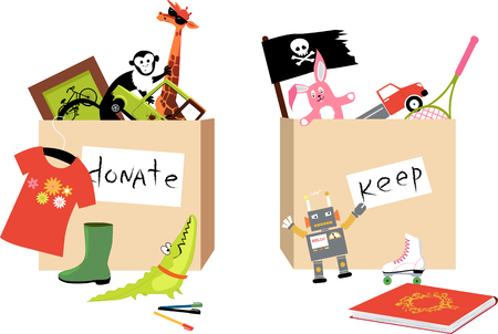 Toys and other children items are sorted into donation and keep boxes during decluttering process, EPS 8 vector illustration