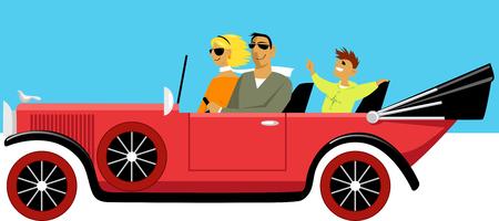 Famille riche moderne conduisant dans une vieille voiture décapotable classique, illustration vectorielle EPS 8