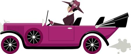 Dame en vêtements vintage au volant d'une ancienne voiture décapotable, illustration vectorielle EPS 8