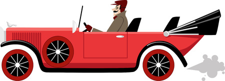 Man in vintage clothes driving a early XX century convertible car, EPS 8 vector illustration
