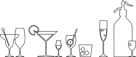 Line of cocktails and a soda siphon on a bar illustration Çizim