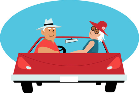 Senior couple in a red convertible car, EPS 8 vector illustration Ilustracja
