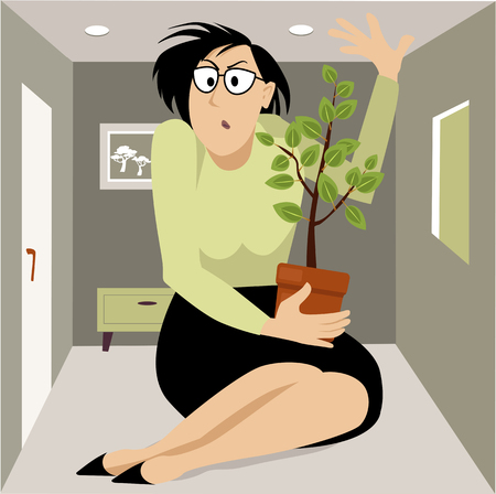 Upset professional woman cramped in a very small apartment, EPS 8 vector illustration Illustration