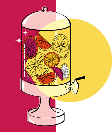 Infused water dispenser vector illustration, no transparencies, EPS 8