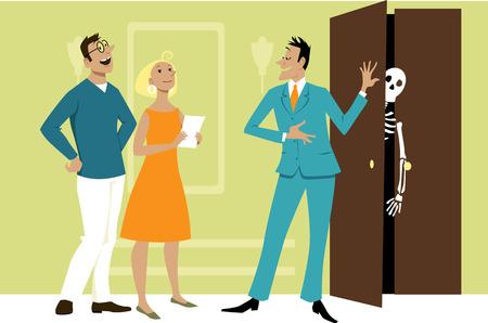 agent immobilier cachant un squelette dans le placard tout en montrant une propriété à quelques acheteurs potentiels, illustration vectorielle EPS 8
