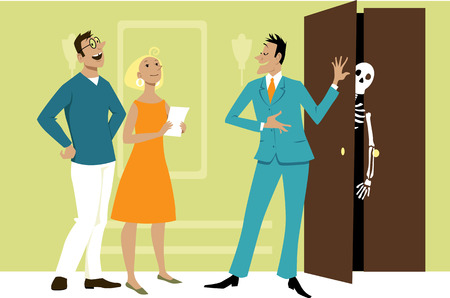 real estate agent hiding a skeleton in the closet while showing a property to a couple of potential buyers, EPS 8 vector illustration